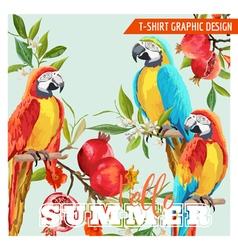 Tropical Graphic Design Parrot Birds Pomegranates vector image vector image