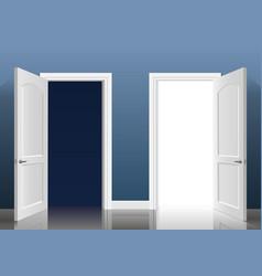 two open doors vector image