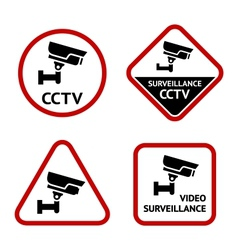 Video surveillance set sticky labels vector image