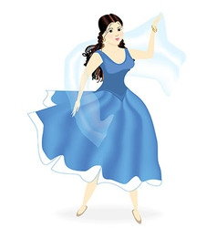 Young beautiful girl dancing in blue dress vector