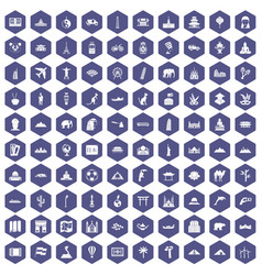 100 world tour icons hexagon purple vector