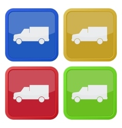Set of four square icons with lorry car vector