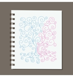 Notebook design abstract family tree with roots vector image