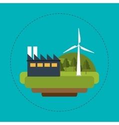 Wind turbines industrial green energy vector