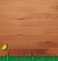 Wooden overlay background with grass vector