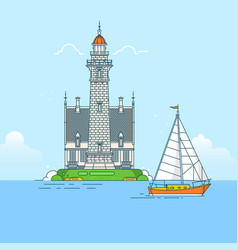 Lighthouse on rock stones island vector