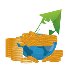 bull wall street money coins vector image