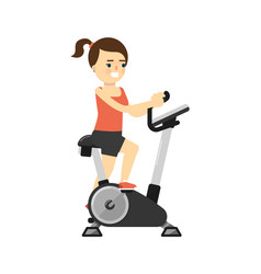 Sporty smiling girl in sportswear on exercise bike vector