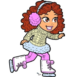 Young girl ice skating vector