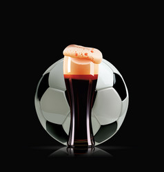 Elegant beer glass and soccer ball photo vector