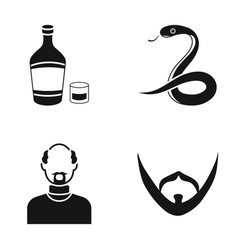 Alcohol snake and other web icon in black style vector