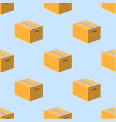 box carton seamless pattern on blue background vector image