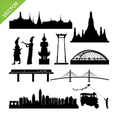 Bangkok symbol and landmark silhouettes vector