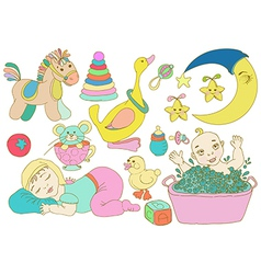Children set with toys and baby vector