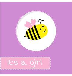 Baby shower card with bee its a girl vector