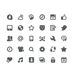 30 social media network icons vector
