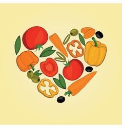 Set of vegetables in heart shapes vector