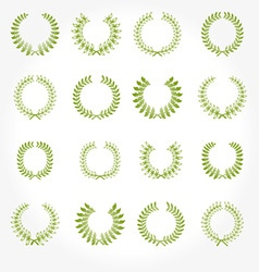 set of crown laurel wreaths vector image