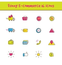 Outline colorful 16 e-commerce icons set in vector