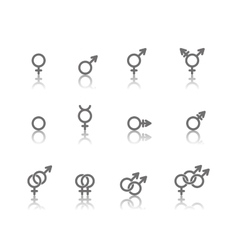 Gender symbol icon set vector