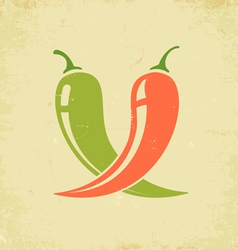 Chili red and green vector