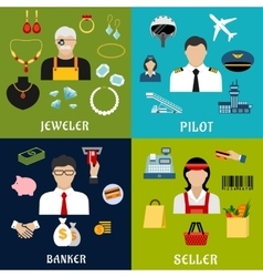 Seller banker pilot and jeweler professions vector