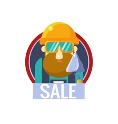 Worker with brick trowel sticker vector