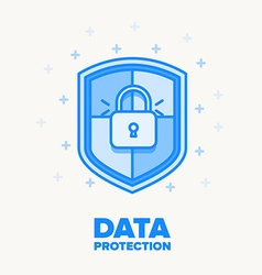 Data protection thin blue line design vector