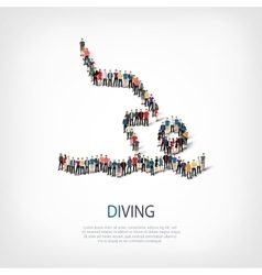 People sports diving vector