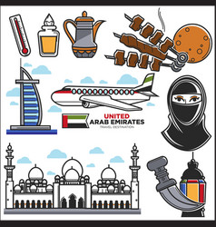 Arab emirates uae culture and muslim travel vector