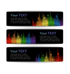 black banners with abstract multicolored equalizer vector image vector image