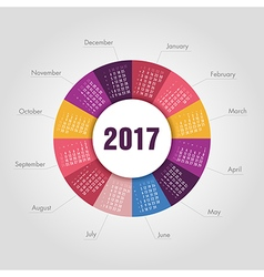 Calendar 2017 round shape week starts sunday vector