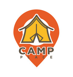 camp tent in forest camping place isolated vector image