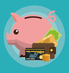 Cash credit cards and piggy bank money related vector