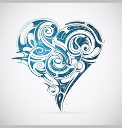 Cold heart with frost ornament vector