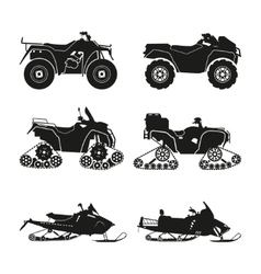 Collection of silhouettes of ATV vector image vector image