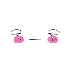 Colorful facial expression sad kawaii vector