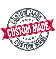 Custom made red round grunge vintage ribbon stamp vector