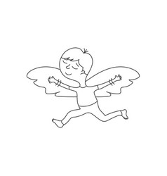 Cute cartoon character with wings in a linear vector