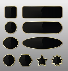 Elegant Black-Gold Web Buttons vector image