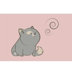 fat gray cat and abstract rings vector image