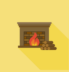fire and fireplace icon with long shadow with fire vector image vector image