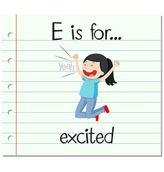 Flashcard letter E is for excited vector image
