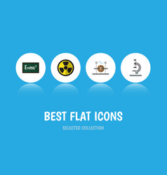 Flat icon science set of electrical engine glass vector