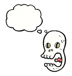 funny cartoon skull with thought bubble vector image
