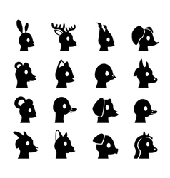 Glyph animals heads vector image vector image