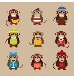 Happy cartoon monkey flat vector