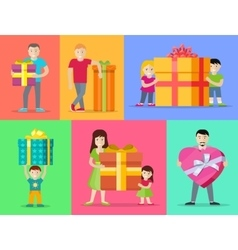 Happy Peoples with Gifts Flat Design Set vector image vector image