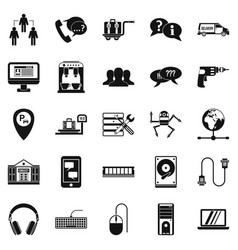 Headset icons set simple style vector
