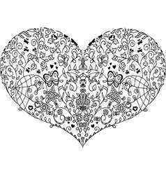 Heart mandala doodle vector image vector image